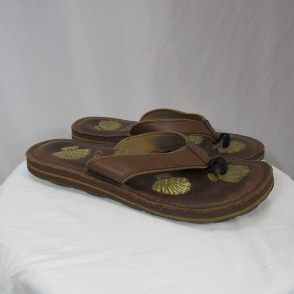 0b440f89199c Clarks Shoes - Clarks Brown Leather Seashell Sandals Flip Flops